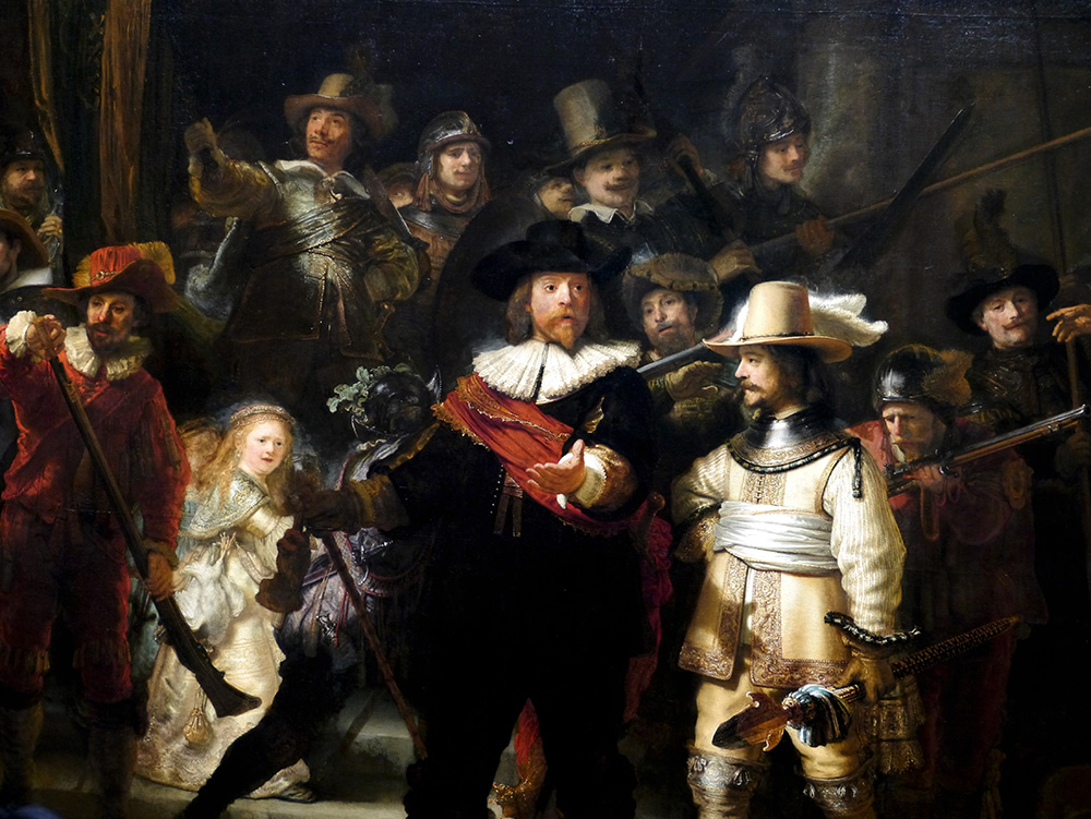 This Rembrandt, commonly called The Night Watch, is one of the most famous paintings in the world. It hangs majestically in the Rijksmuseum in Amsterdam. The powerful use of chiaroscuro (contrast between light and dark) unites Dutch art across the centuries. Credit: Nicola Brown