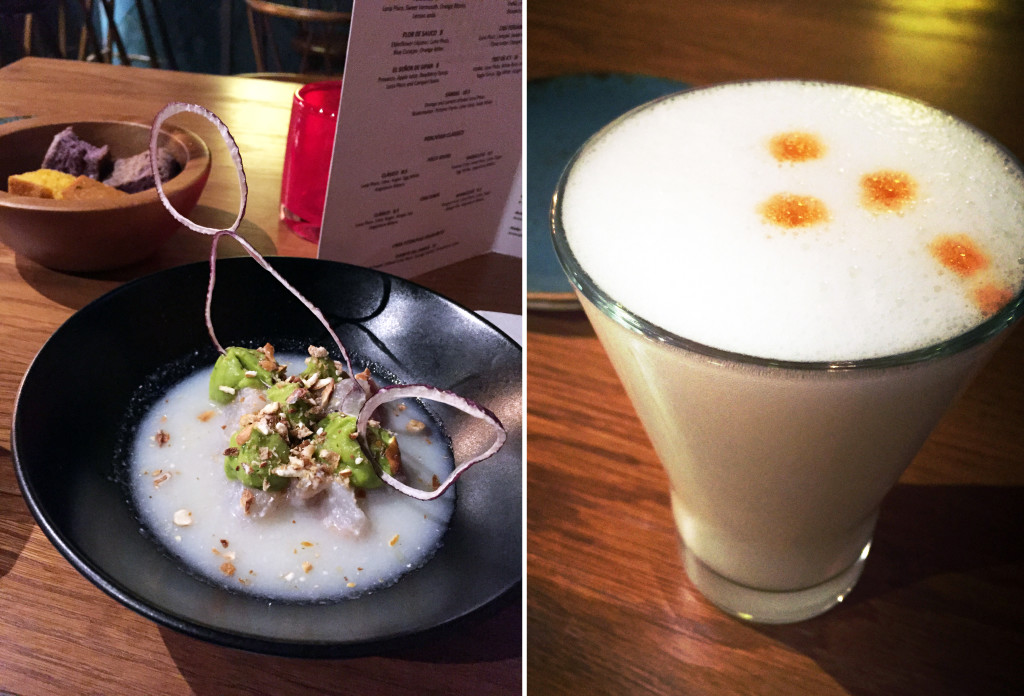Black bream ceviche & Pisco Sour
