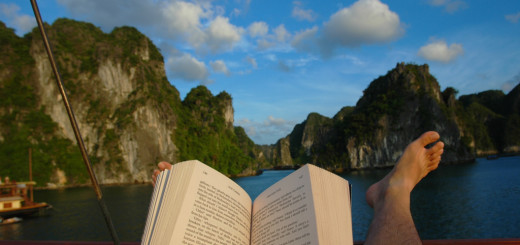 Reading in Halong Bay, Vietnam