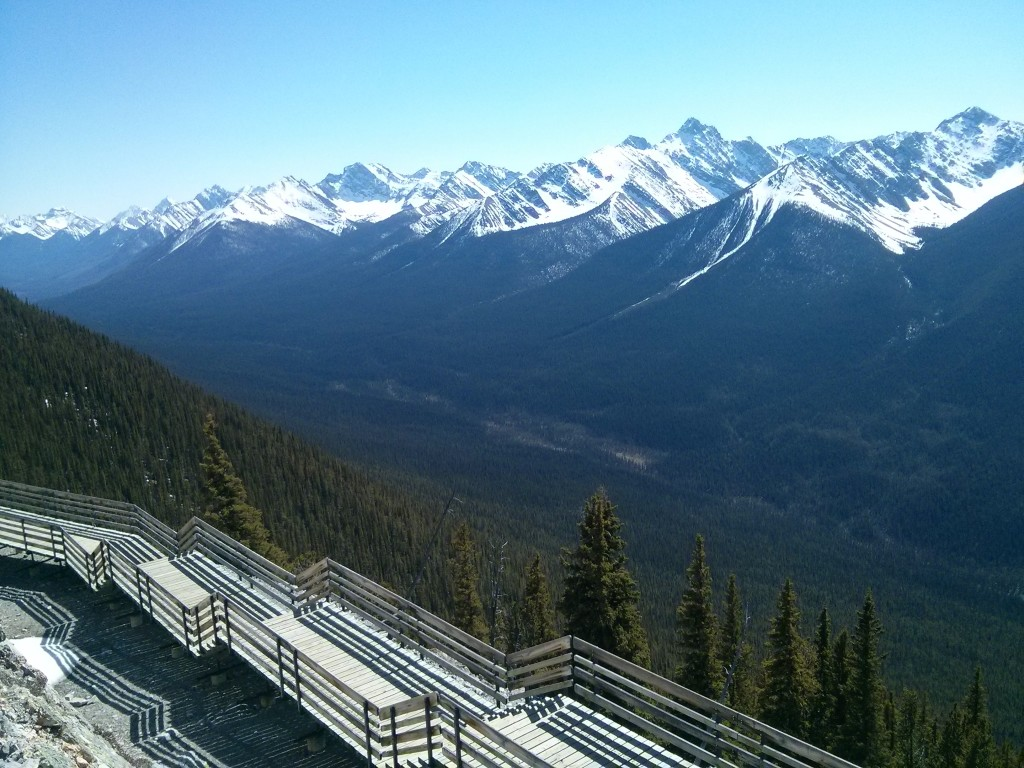 The boardwalk atop sulphur mountain offer's the best views of Banff and the neighbouring Canadian Rockies. Credit: Caitlin Boros