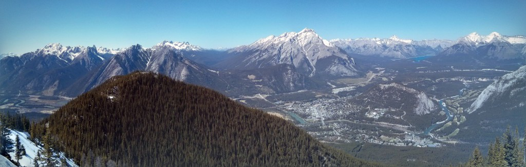 A panoramic view of Banff from Sulphur Mountain. Credit: Caitlin Boros