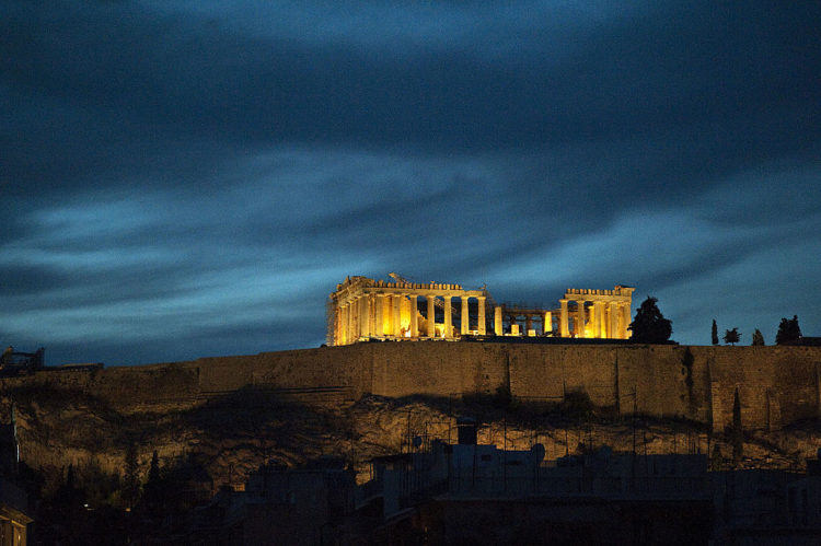 Acropolis Parthenon Athens at night