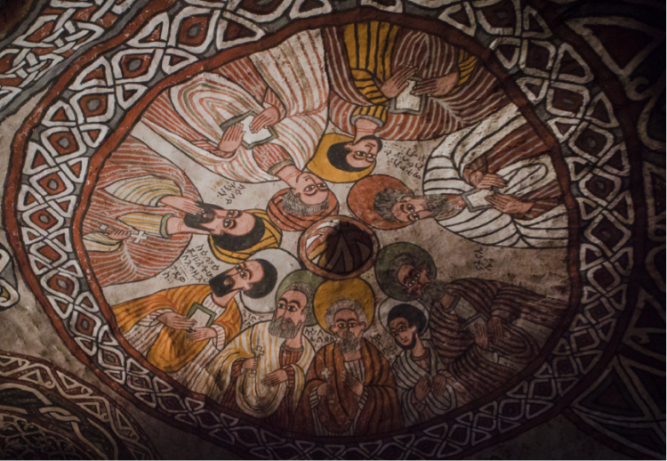 Fresco on the ceiling of Abuna Yemata rock church. Credit: Sam McManus