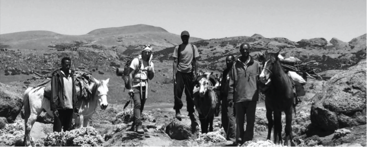 Sam in the Sanetti Plateau with guide Jafer and porters Usman, Abdullah and Haji. Credit: Sam McManus